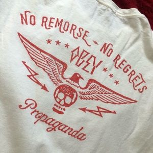 Used Obey No Remorse. No Regrets. White tee.